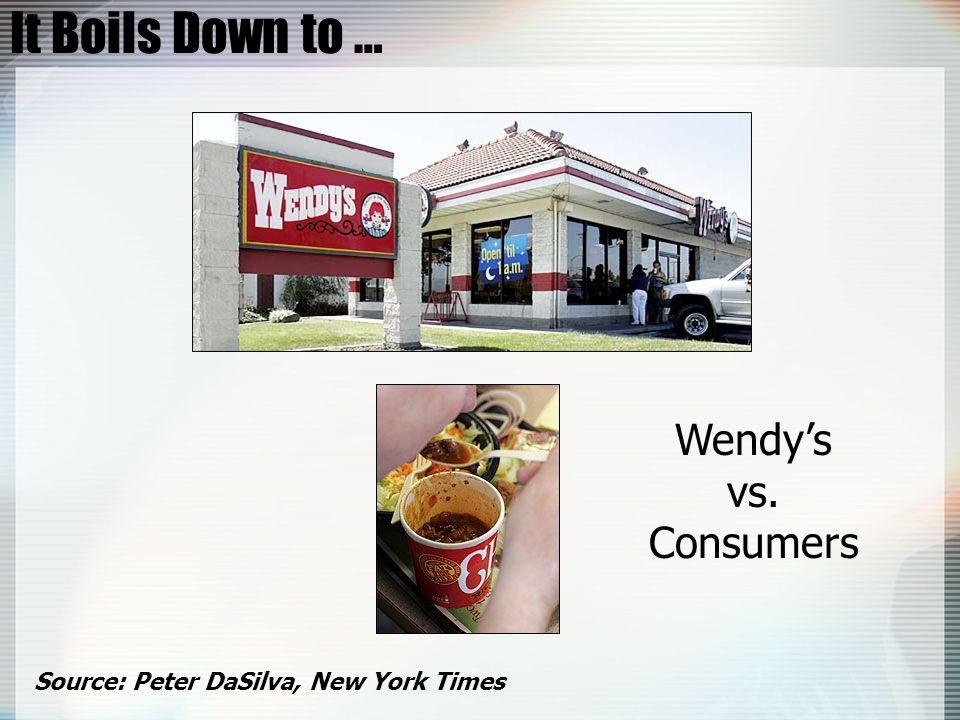 It Boils Down to … Wendy's vs. Consumers
