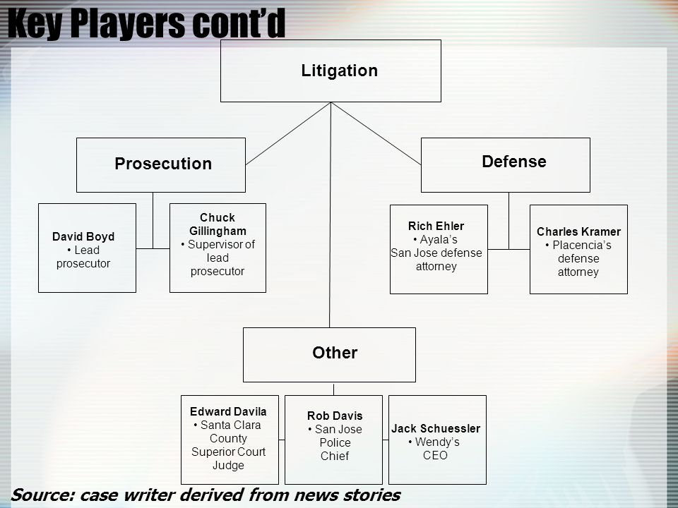 Key Players cont'd Litigation Prosecution Defense Other