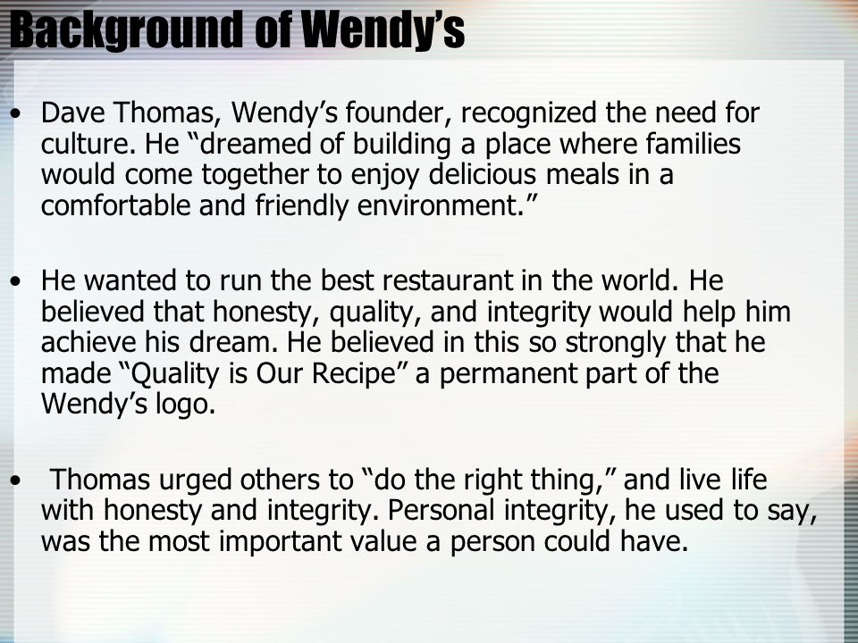 Background of Wendy's