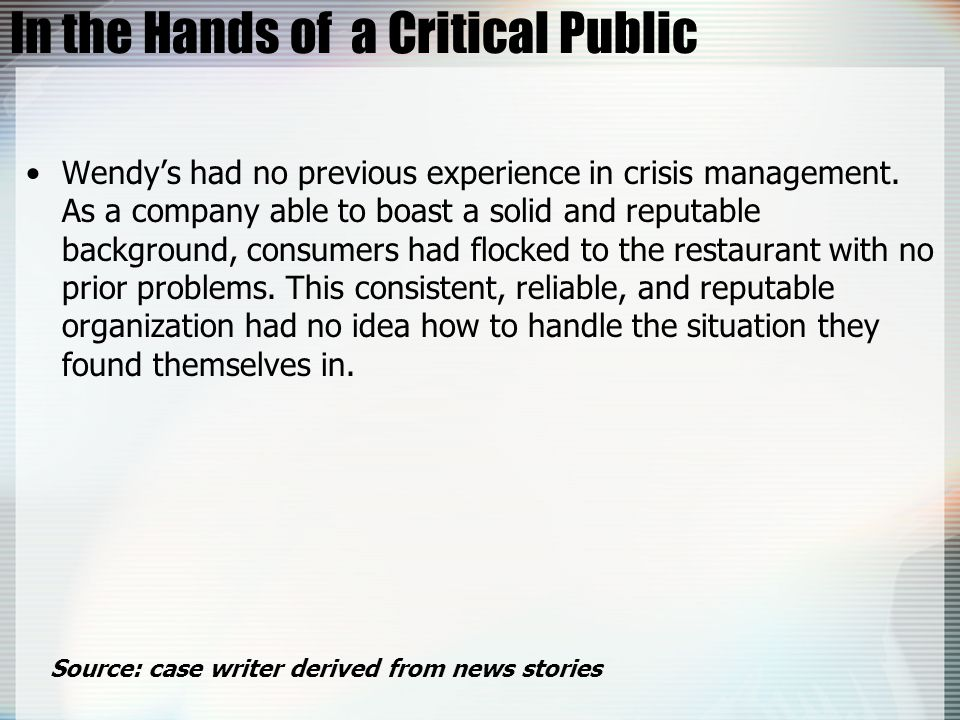 In the Hands of a Critical Public
