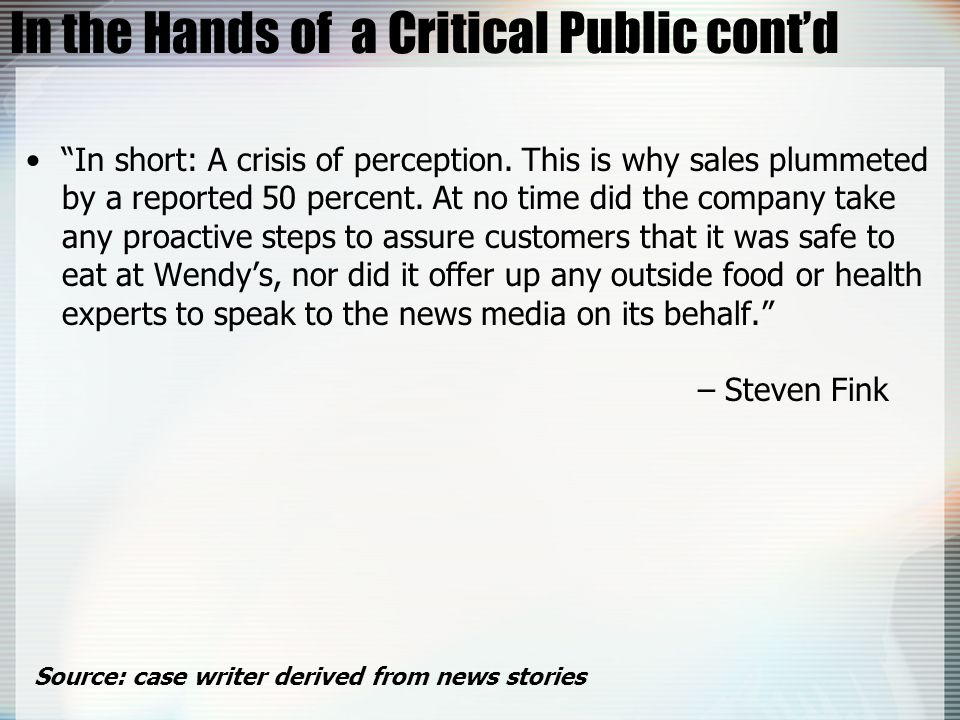In the Hands of a Critical Public cont'd
