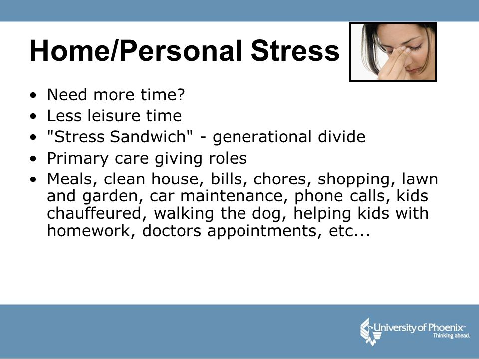 Home/Personal Stress Need more time Less leisure time