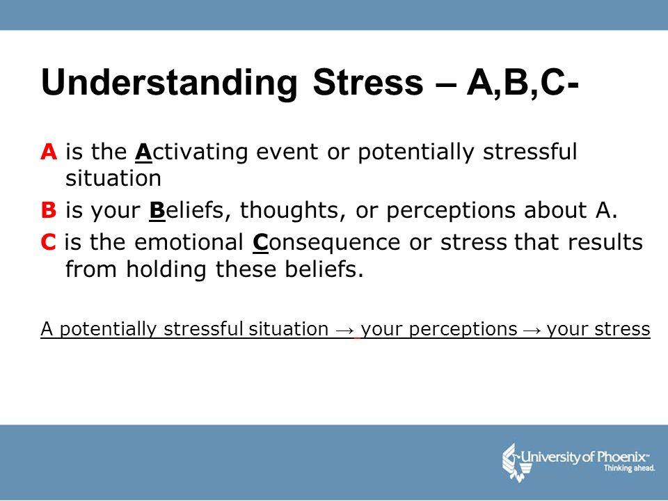 Understanding Stress – A,B,C-