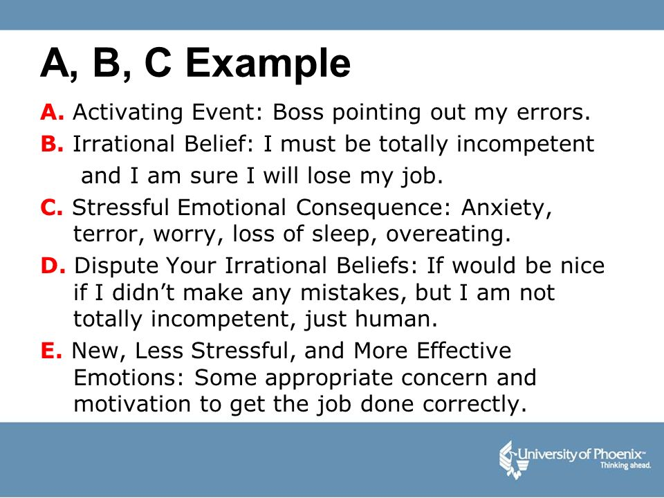 A, B, C Example A. Activating Event: Boss pointing out my errors.