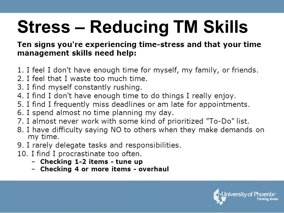 Stress – Reducing TM Skills