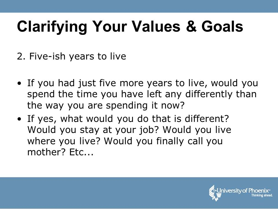 Clarifying Your Values & Goals