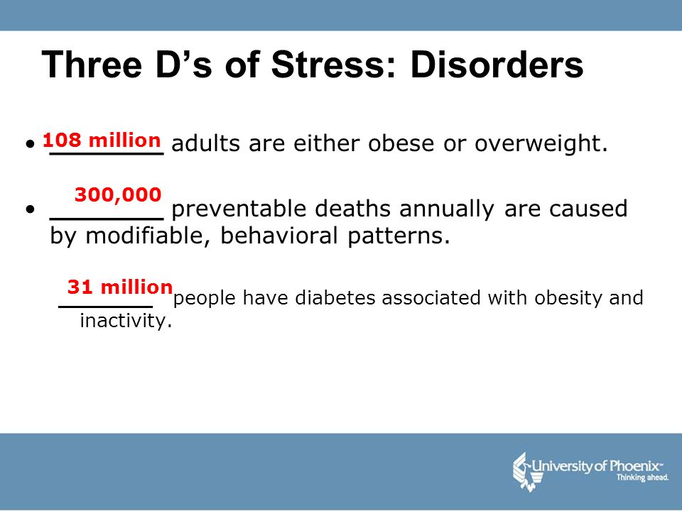 Three D's of Stress: Disorders