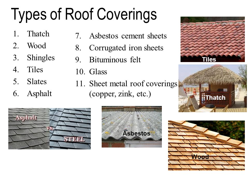 Roofs ppt video online download for Types of roofing materials