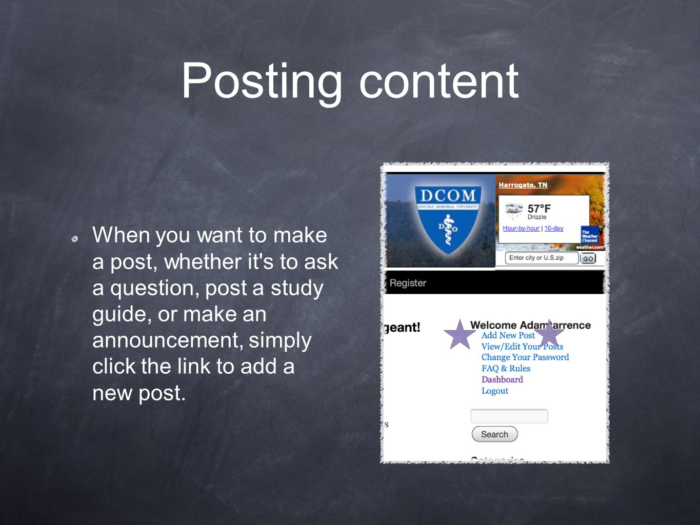 Posting content