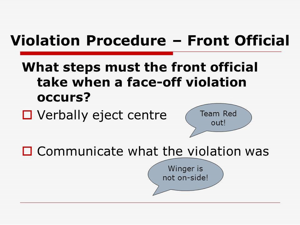 Violation Procedure – Front Official
