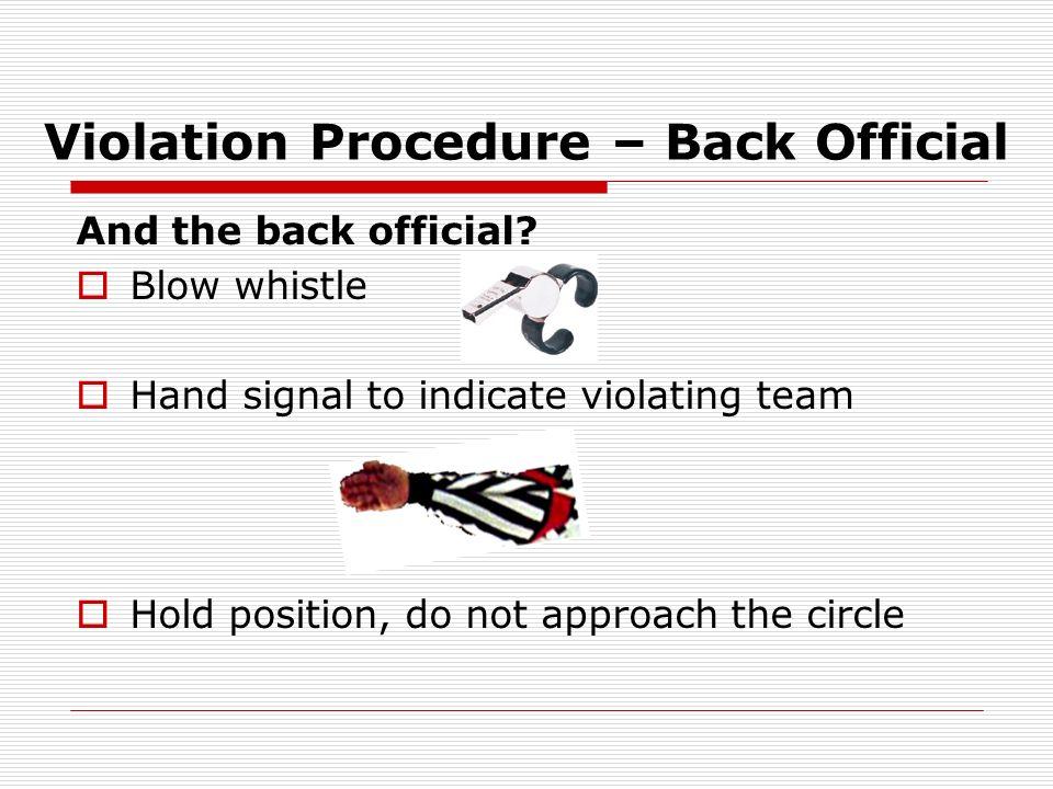 Violation Procedure – Back Official