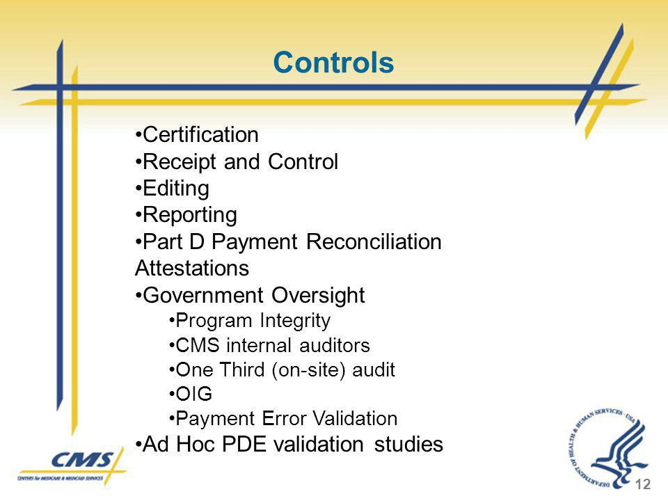 Controls Certification Receipt and Control Editing Reporting