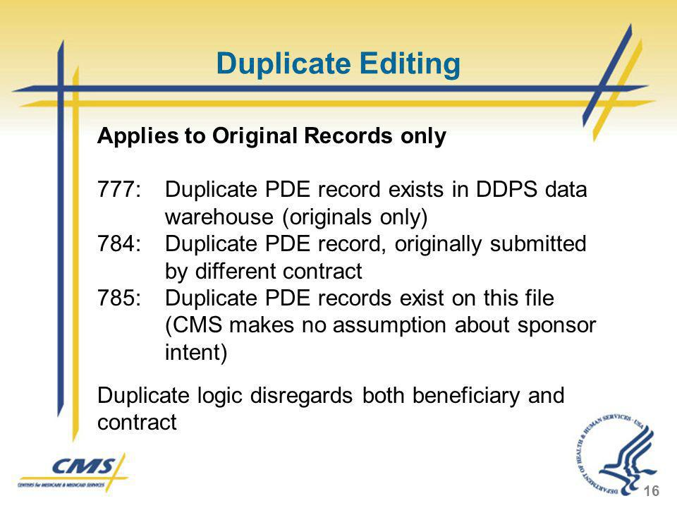 Duplicate Editing Applies to Original Records only