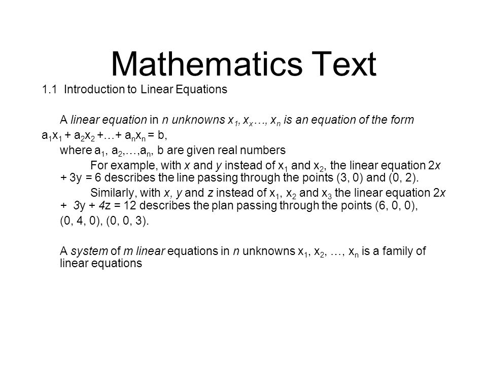 Mathematics Text 1.1 Introduction to Linear Equations