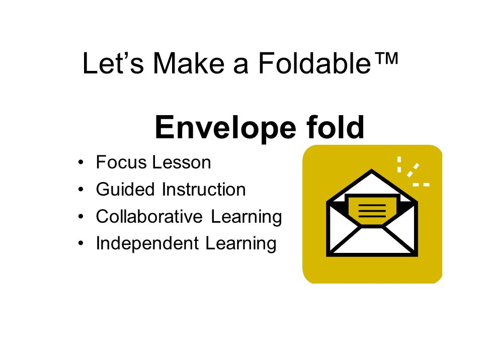 Envelope fold Let's Make a Foldable™ Focus Lesson Guided Instruction
