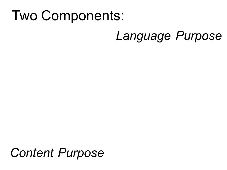 Two Components: Language Purpose Content Purpose