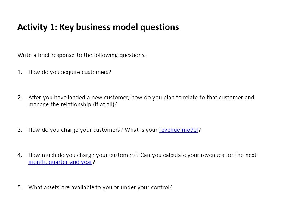 Activity 1: Key business model questions