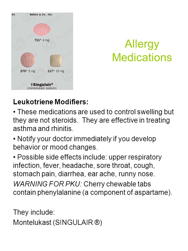 Allergy Medications Leukotriene Modifiers:
