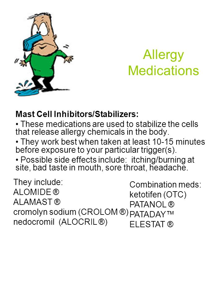 Allergy Medications Mast Cell Inhibitors/Stabilizers:
