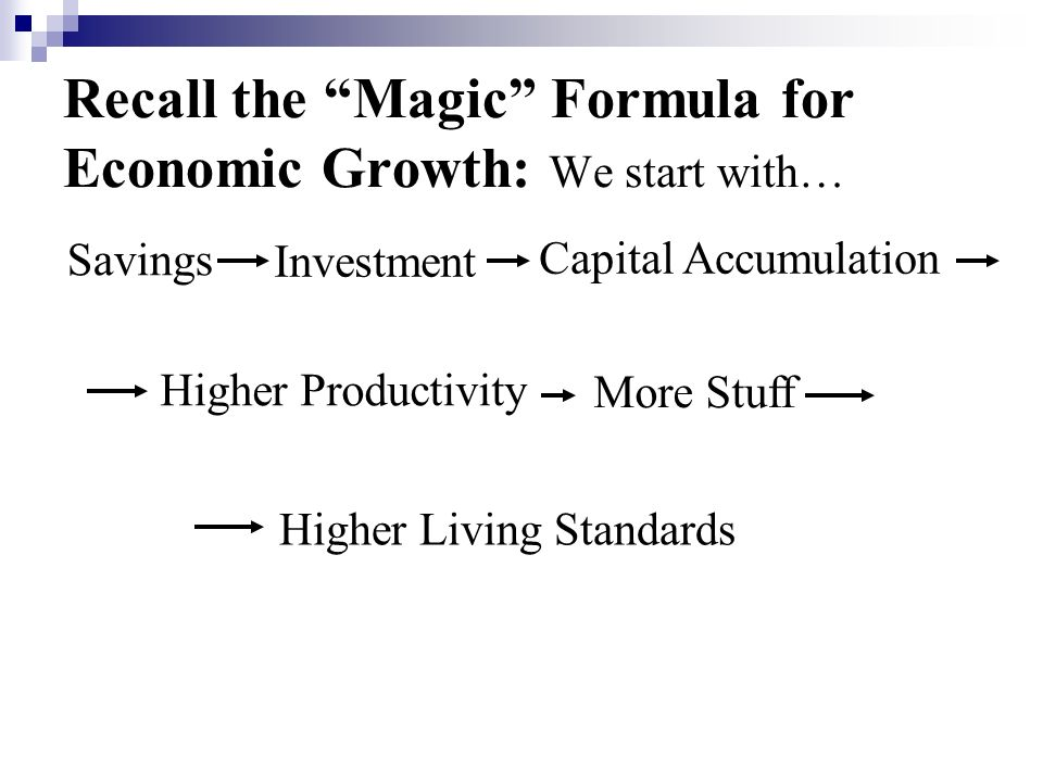 Recall the Magic Formula for Economic Growth: We start with…