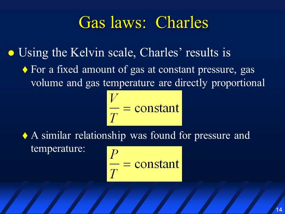 Gas laws: Charles Using the Kelvin scale, Charles' results is