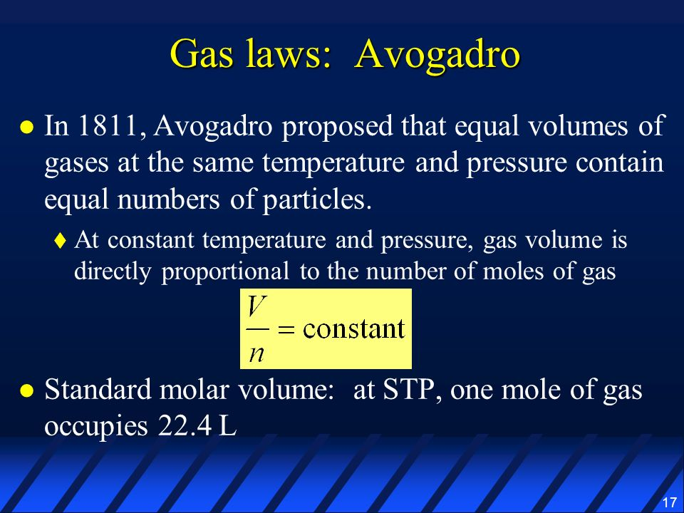 Gas laws: Avogadro In 1811, Avogadro proposed that equal volumes of gases at the same temperature and pressure contain equal numbers of particles.