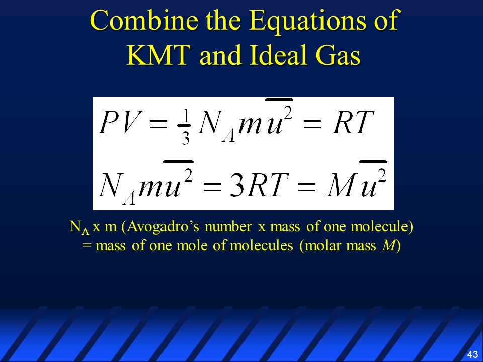 Combine the Equations of KMT and Ideal Gas