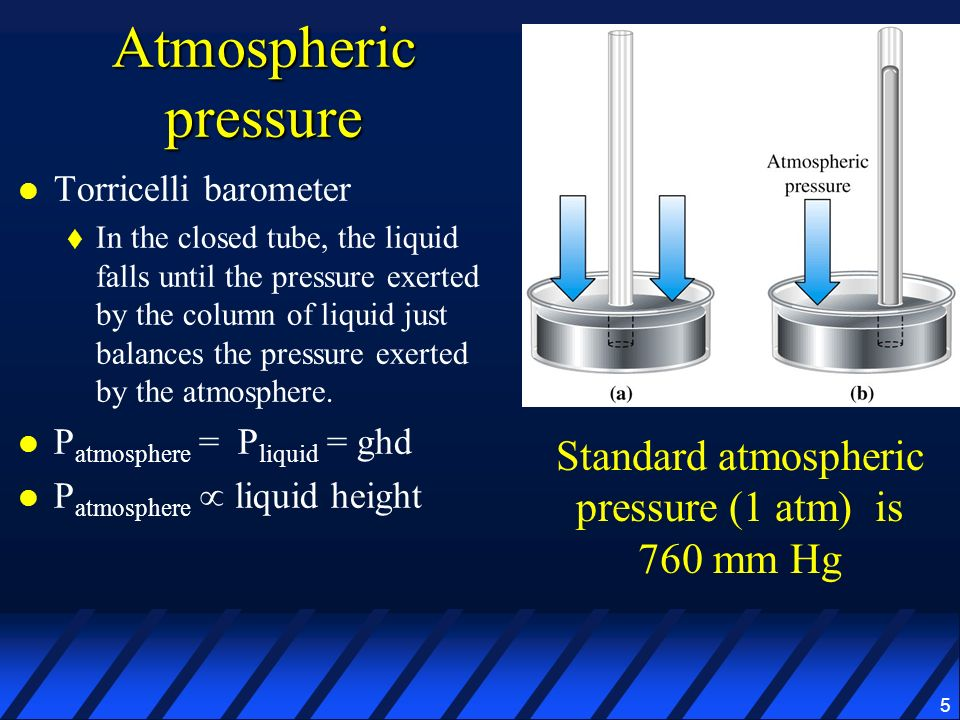 Standard atmospheric pressure (1 atm) is 760 mm Hg