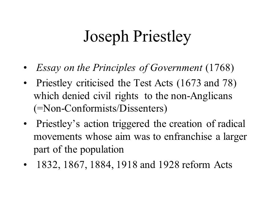 Joseph Priestley Essay on the Principles of Government (1768)