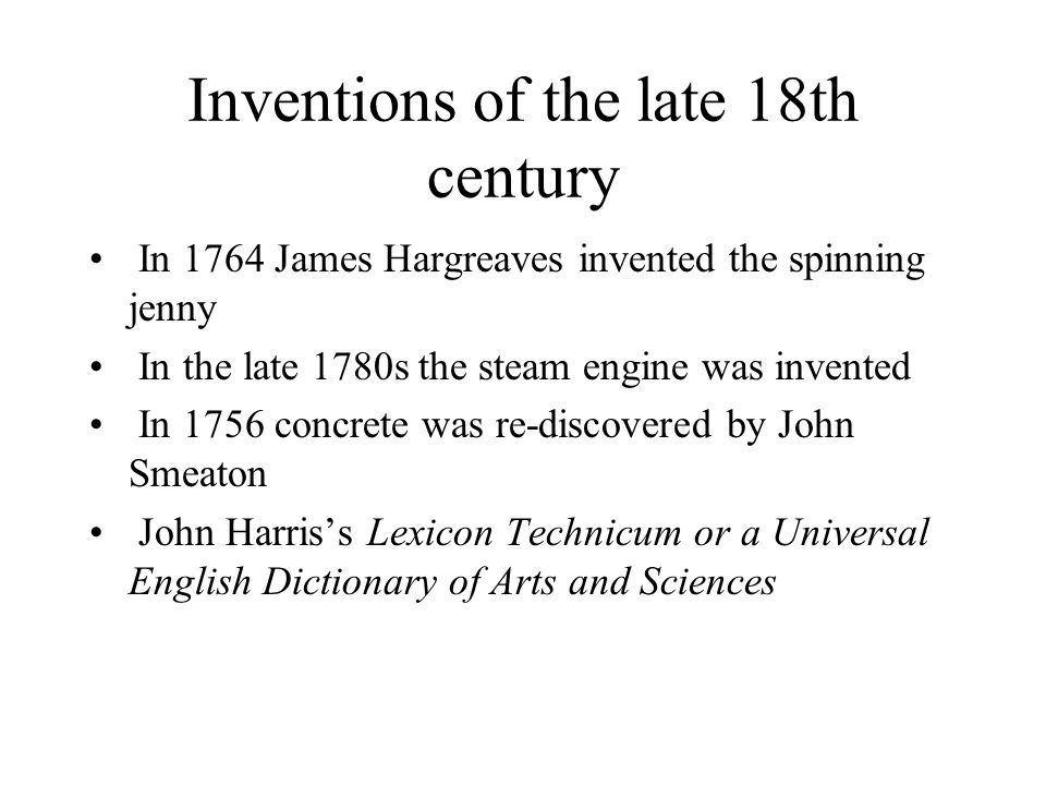 Inventions of the late 18th century