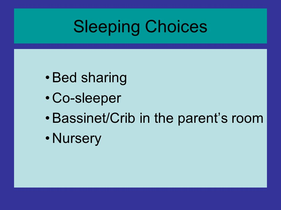 Sleeping Choices Bed sharing Co-sleeper