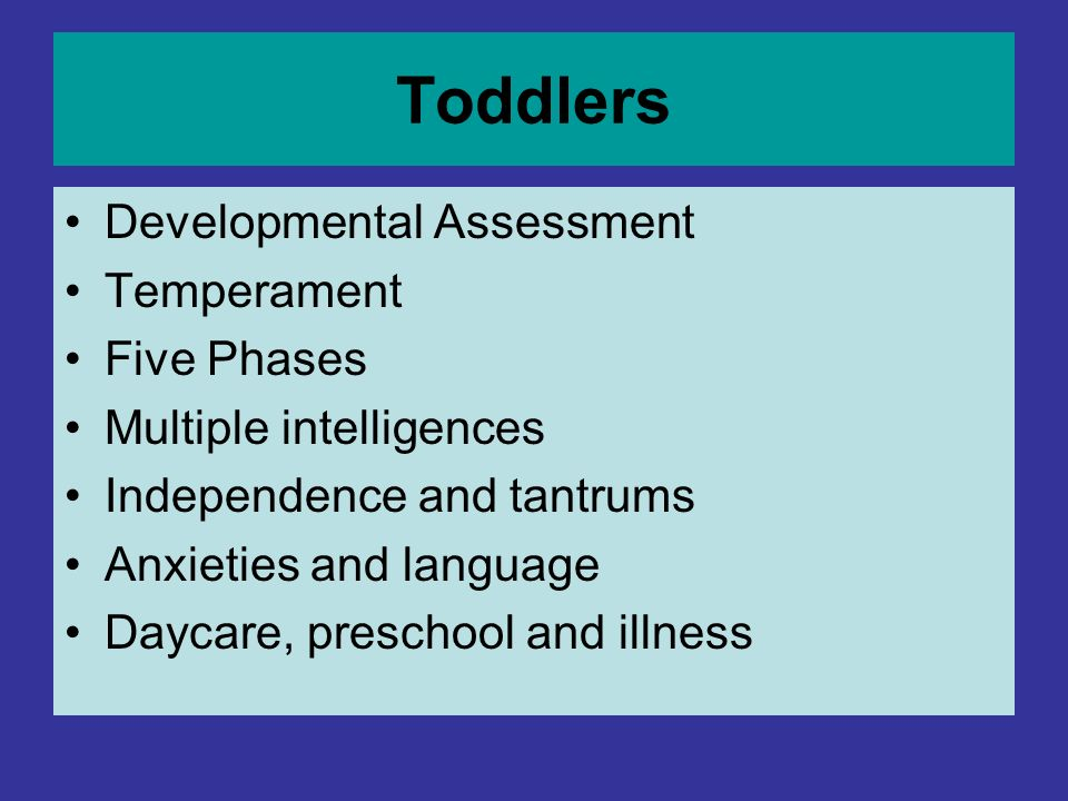 Toddlers Developmental Assessment Temperament Five Phases