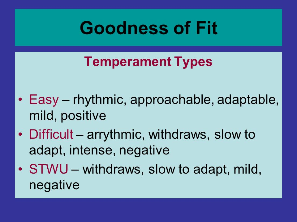 Goodness of Fit Temperament Types
