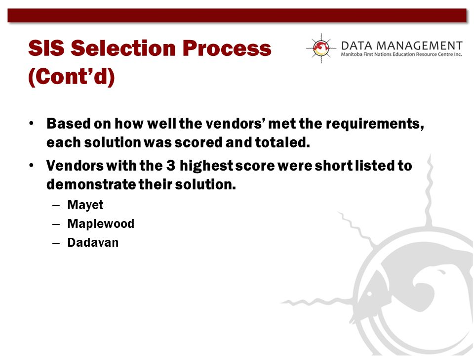 SIS Selection Process (Cont'd)