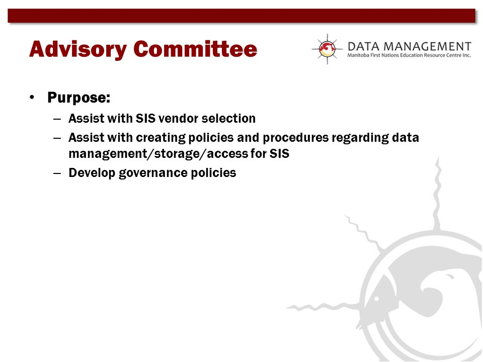 Advisory Committee Purpose: Assist with SIS vendor selection