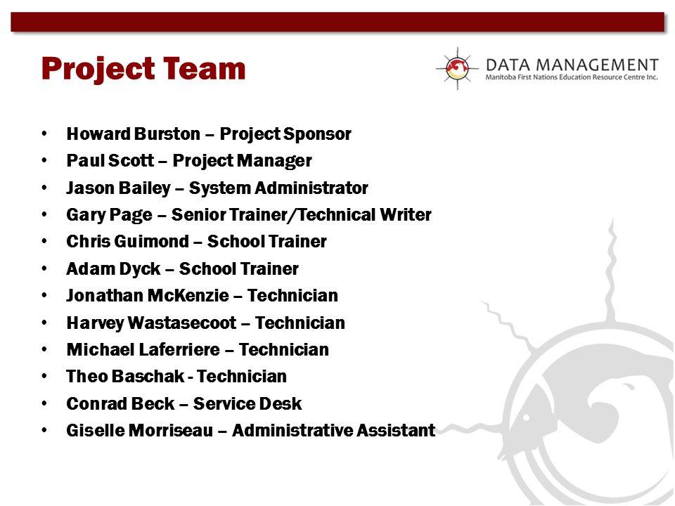 Project Team Howard Burston – Project Sponsor