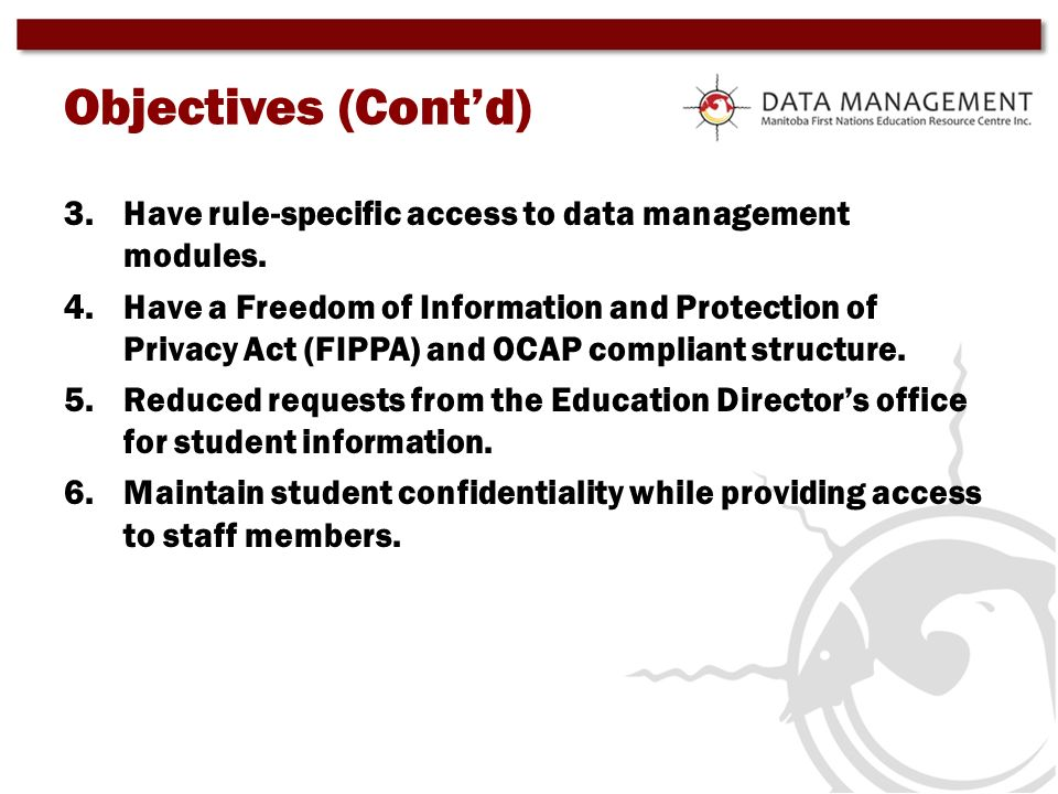 Objectives (Cont'd) Have rule-specific access to data management modules.