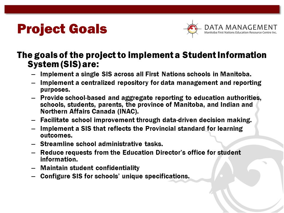 Project GoalsThe goals of the project to implement a Student Information System (SIS) are: