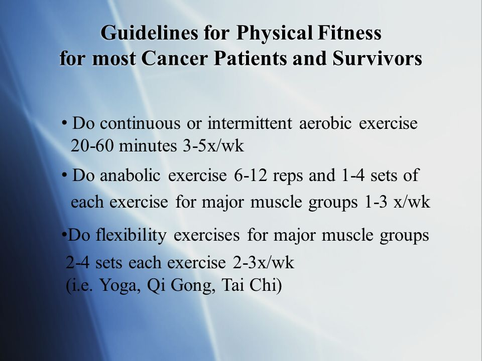 Guidelines for Physical Fitness for most Cancer Patients and Survivors