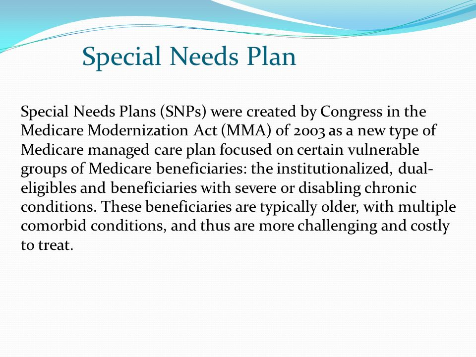 Special Needs Plan