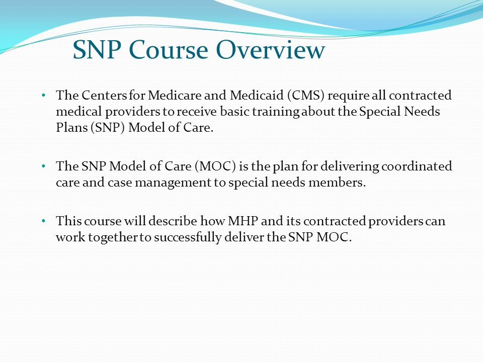SNP Course Overview