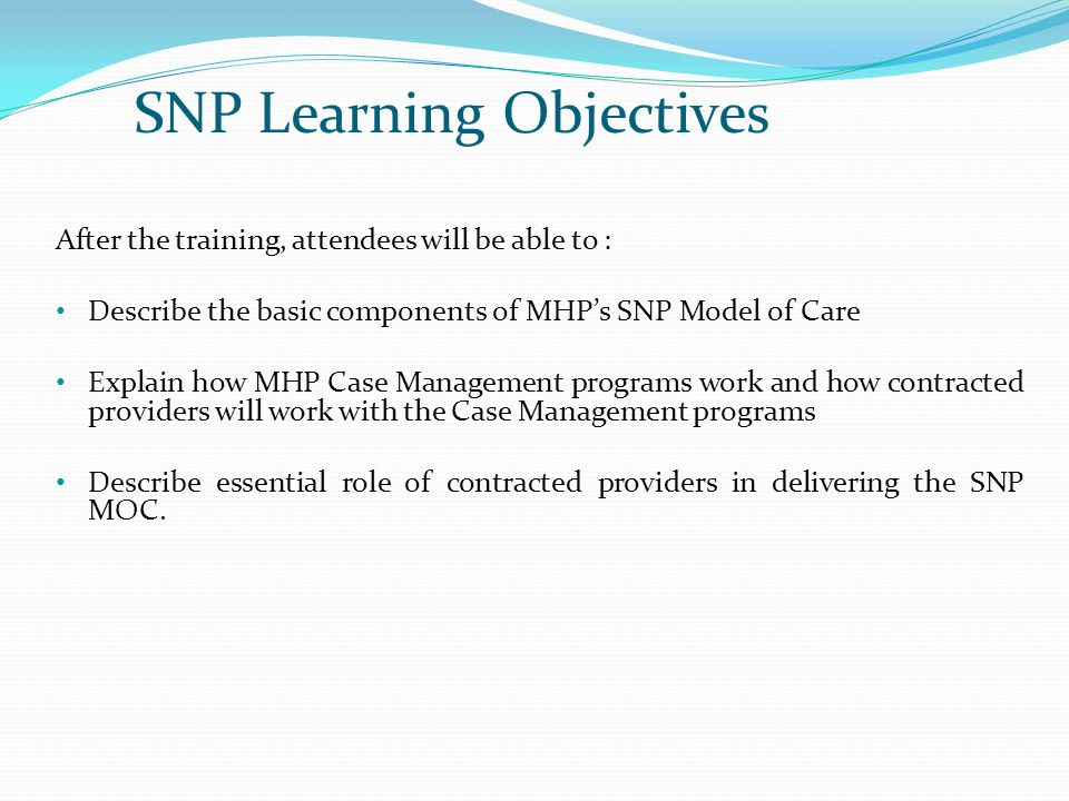 SNP Learning Objectives