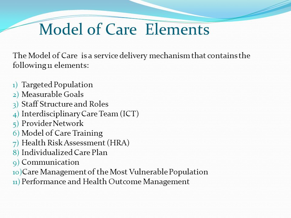 Model of Care Elements The Model of Care is a service delivery mechanism that contains the. following 11 elements: