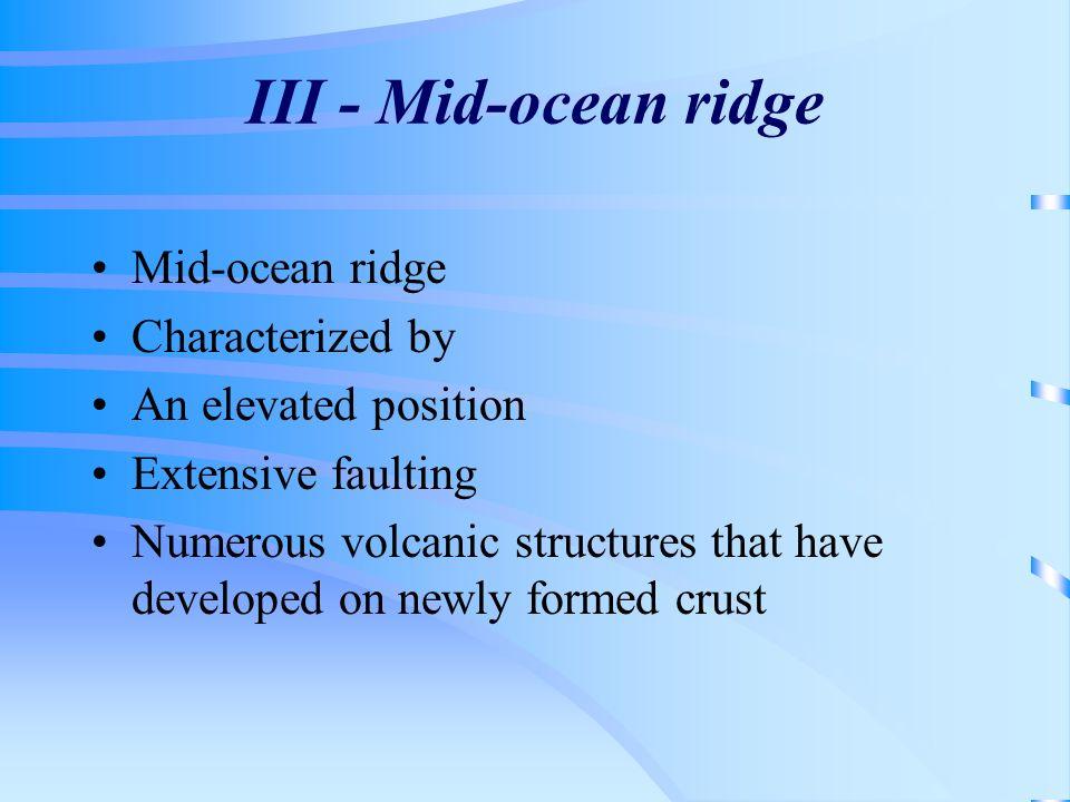 III - Mid-ocean ridge Mid-ocean ridge Characterized by