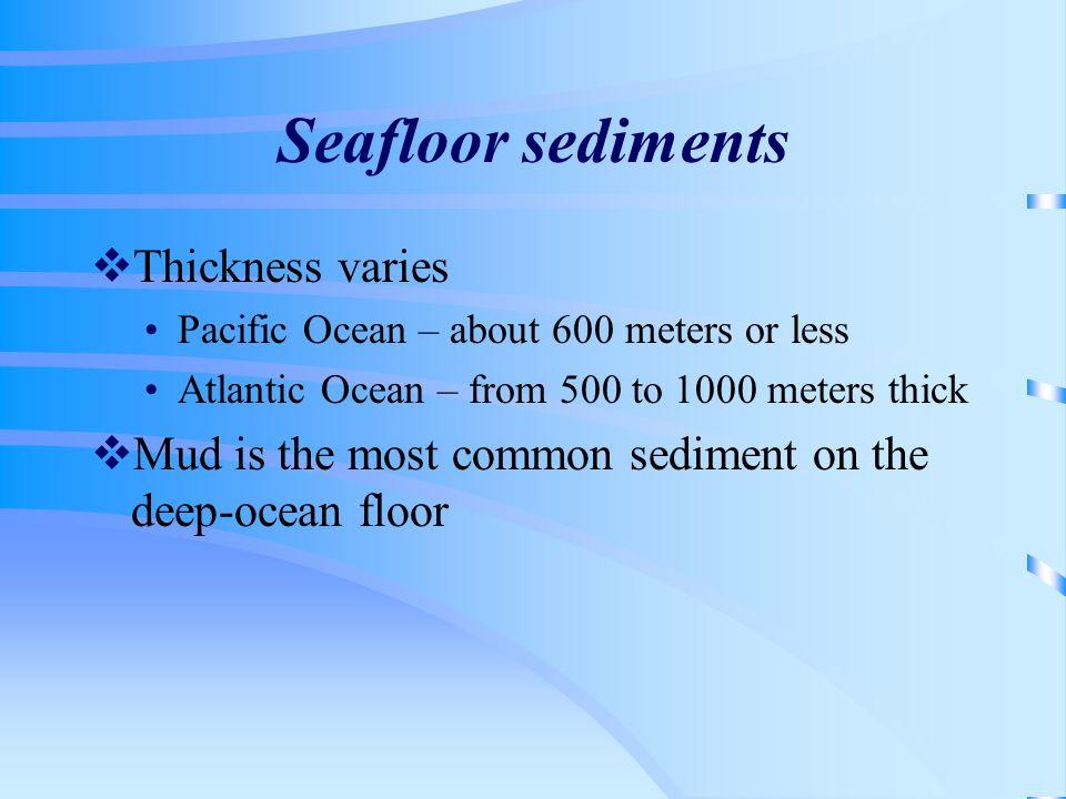 Seafloor sediments Thickness varies