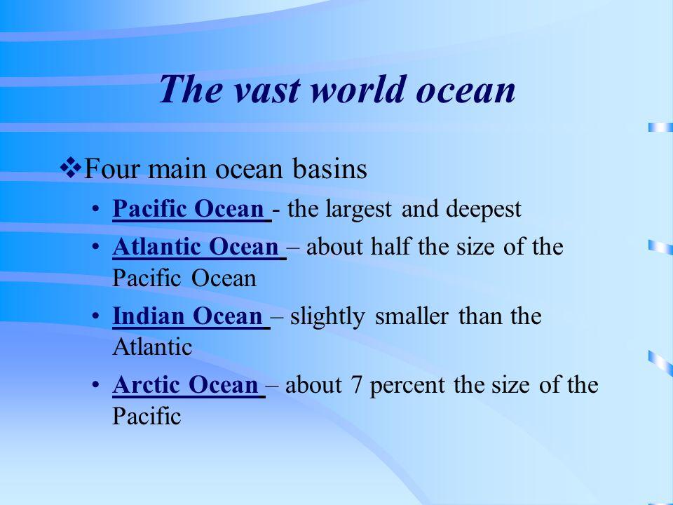 The vast world ocean Four main ocean basins