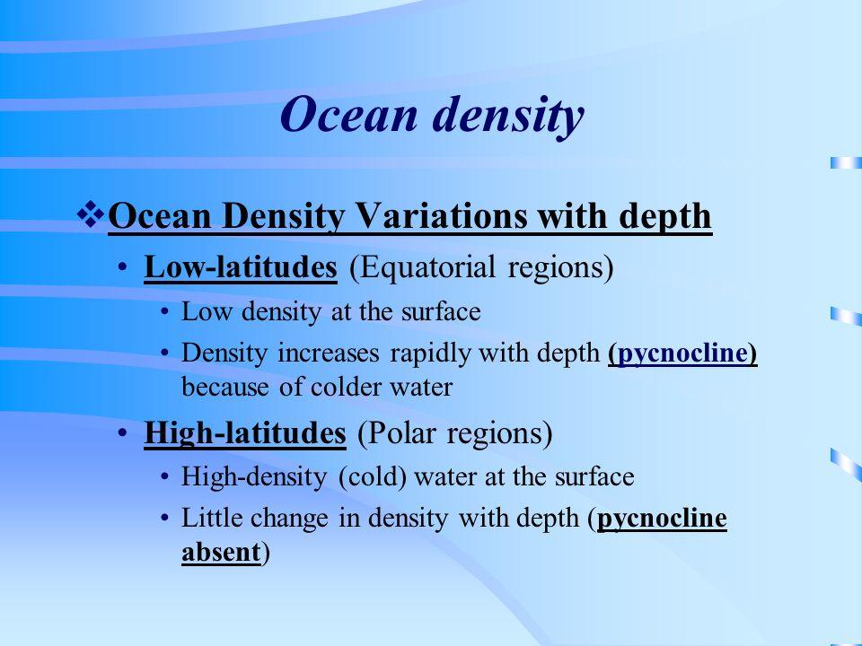 Ocean density Ocean Density Variations with depth