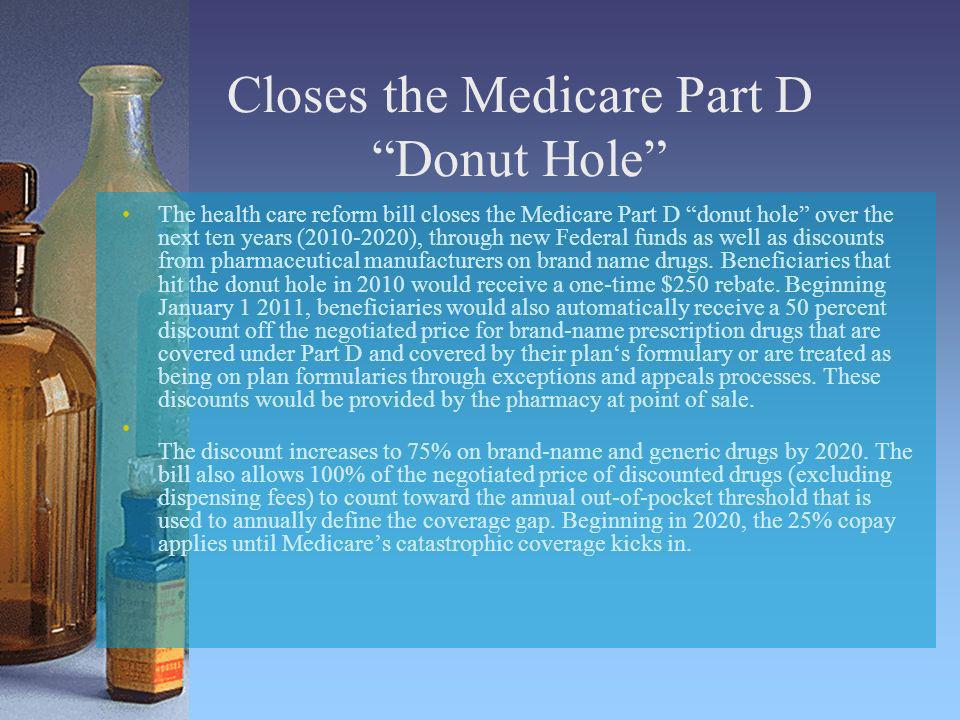 Closes the Medicare Part D Donut Hole