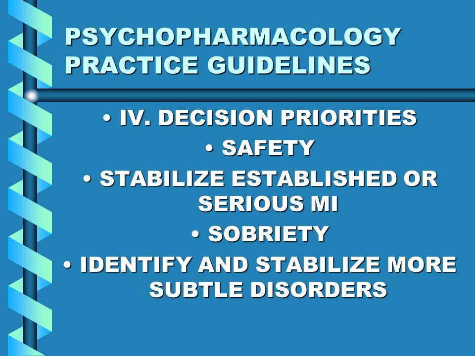 PSYCHOPHARMACOLOGY PRACTICE GUIDELINES