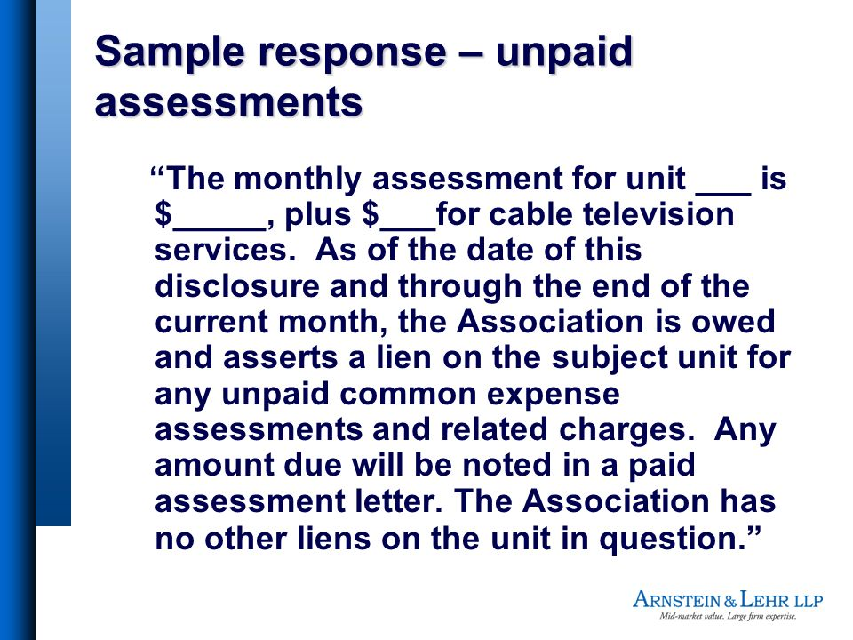 Sample response – unpaid assessments